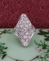 Old Mine Cut Diamond Pavé Shield Ring