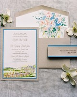 tan, blue, pink, and green watercolor wedding invitation