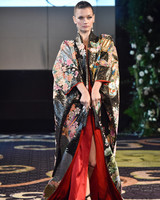 yumi katsura black and red floral silk kimono robe wedding dress fall 2018