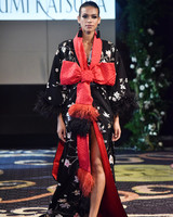 yumi katsura black and red silk kimono with bow and feathers wedding dress fall 2018