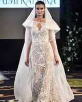 yumi katsura fall 2018 champagne sheer cape wedding dress
