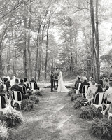 ashley and justin ceremony in black and white