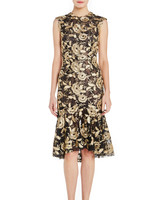 Monique Lhuillier Cap Sleeve Mother of the Bride Dress with Gold Details