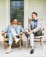 grooms sitting on porch