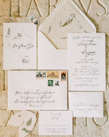wedding invitation with leaves