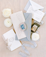 classic invitation warm gray dusty blue suite with calligraphy