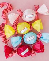 colleen stephen newport wedding colorful bon bon wedding favors