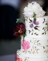 wedding cake with colorful floral design