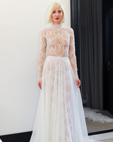 costarellos lace long sleeves a-line wedding dress spring 2018