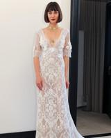 costarellos lace v-neck three quarter length sleeves wedding dress spring 2018