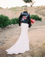 bride wearing leather jacket