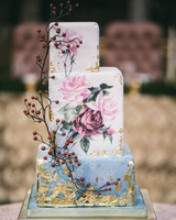 cubed wedding painted floral cake with gold leaf