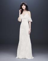 bell sleeve spaghetti strap drop sleeve lace wedding dress davids bridal galina Spring 2020