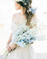 long stemmed blue and white delphinium wedding bouquet