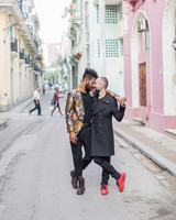 destination engagement couple sunrise old havana city