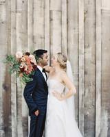 emily siddartha wedding couple bouquet