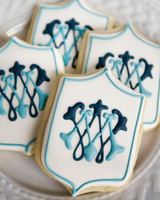 monogram blue white cookies
