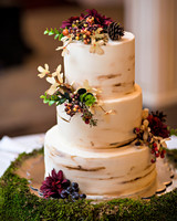 Wedding Cake with Fall Decorations