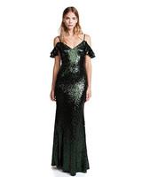 emerald green sequin fall wedding guest dress