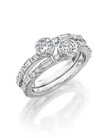 Forevermark You and Me Deco Stackable White Gold and Diamond Rings