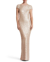 sequined cap sleeve gold dress