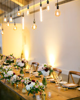 head table hanging edison bulbs uplighting