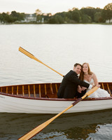 jen geoff wedding couple paddling in canoe