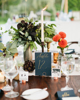 Elegant and Eclectic Table Centerpieces with Gold Calligraphy Table Numbers