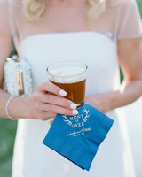 custom blue napkins the hunt is over text