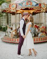 lara kjell circus couple carousel kiss