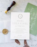 leila joel wedding invitation with seal