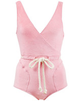Pink Terry Drawstring Swimsuit