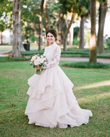 long sleeved wedding blush dress