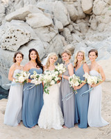 Mismatched Blue and Gray Bridesmaid Dresses