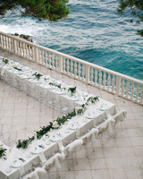 Long White Seaside Reception Table