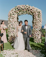 hawaii wedding bride groom recessional rose petals