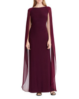 mother of the bride plum color dress cape overlay