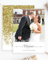 newlywed holiday cards merry married bright