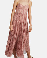spaghetti strap chiffon maxi printed mob dress