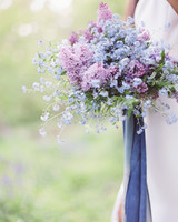 bouquet with purple and blue flowers