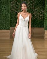 rebecca ingram spaghetti strap a-line wedding dress fall 2018