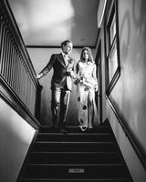 wedding reception dresses patterned skirt with slit