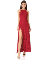 high neck red lace floor length gown with slit