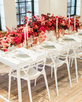 arch pink and red rose centerpiece