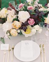 centerpiece with orange garden roses