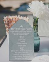 concrete drink menu on gray countertop