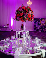 wedding reception table mirror top roses