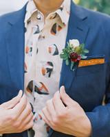 blue and orange contrast suit attire