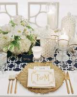 Merveilleux Gold, White And Navy Wedding Table Decor