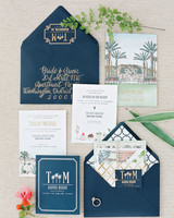 Illustrated Spring Invitation Suite with Navy Envelopes and Calligraphy